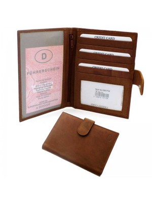 Wholesale Men's Leather Passport Holder with 5 Card Slots - Tan