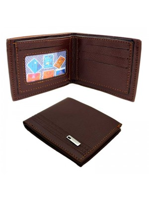 Wholesale Men's Leather Wallet With 3 Card Slots - Cognac