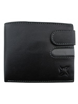 Wholesale Men's Leather Wallet With Closure Button - Black