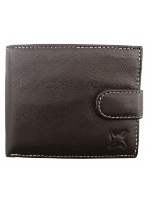 Wholesale Men's Leather Wallet With Closure Button - Brown