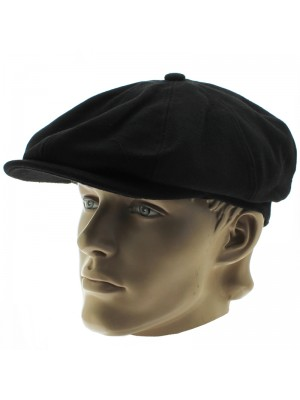 Men's 8-Panel Flat Cap - Black