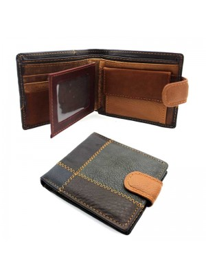 Wholesale Men's Patchwork Design Leather Wallet With 3 Card Slots A