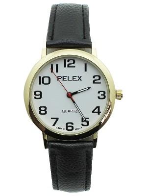 Wholesale Unisex Pelex Classic Round Dial Leather Strap Watch - Black & Gold