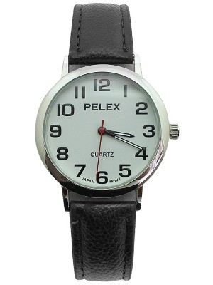 Wholesale Mens Pelex Classic Round Dial Leather Strap Watch - Black & Silver