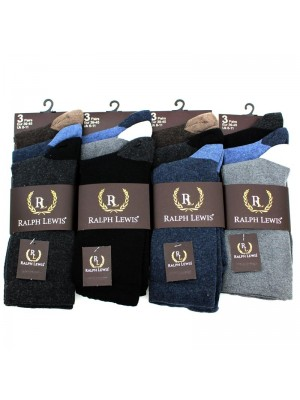 Men's Ralph Lewis Two-Tone Plain Socks (6-11) - Dark Assortment
