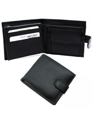 Men's RFID Leather Wallet 7 Card Slots - Black