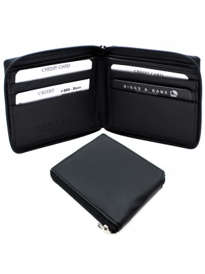 Men's RFID Zip Leather Wallet 6 Card Slots - Black