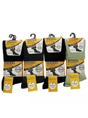Men's Stay Up Non-Elastic Diabetic Socks (6-11) - Assorted Colours