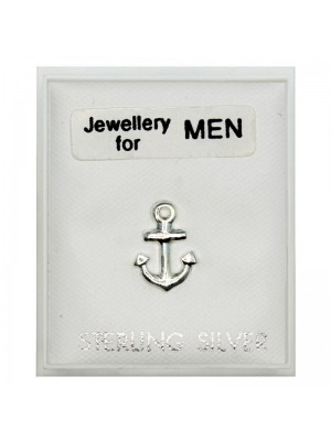 Men's Sterling Silver Anchor Stud