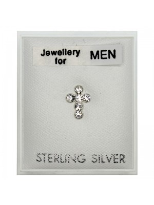 Men's Sterling Silver Cross Design Stud With Diamante