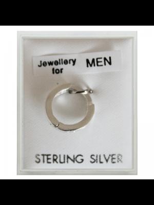 Men's Sterling Silver Hinged Set Earrings