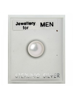 Men's Sterling Silver Pearl Design Stud