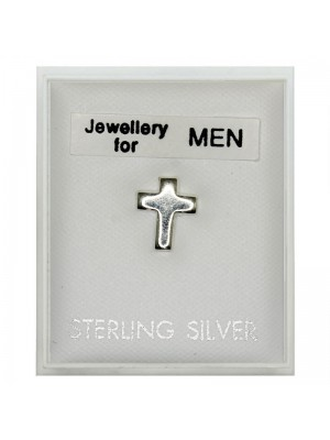 Men's Sterling Silver Plain Cross Stud