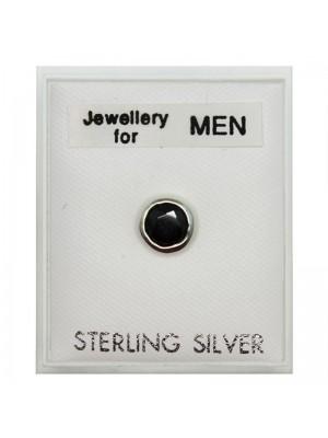 Men's Sterling Silver Round Stud - Black
