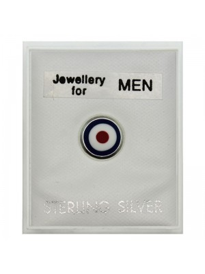 Men's Sterling Silver Round Stud- Multicolour