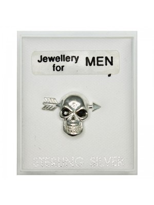 Men's Sterling Silver Skull And Arrow Stud (15mm)