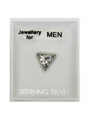 Men's Sterling Silver Triangular Shape Stud