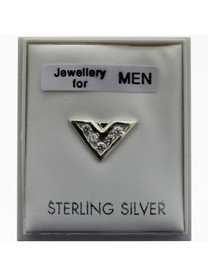 "Men's Sterling Silver ""V"" Design Stud"