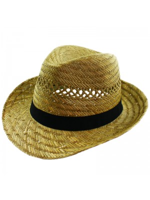 Men's Straw Fedora With Black Band
