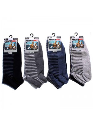 Men's Striped Performax Trainer Socks (6-11) - Assorted Colours