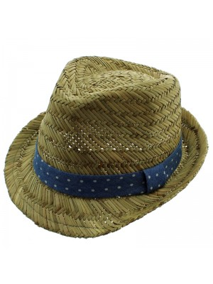 Men's Trilby Hat with Blue Polka Dot Band