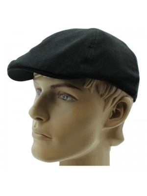 Men's 6 Panel Flat Caps - Black (Assorted Sizes)