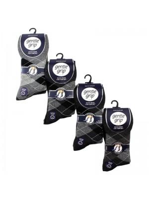 Men's Argyle Cotton Blend Socks - Gentle Grip (3 Pair Pack) - Asst