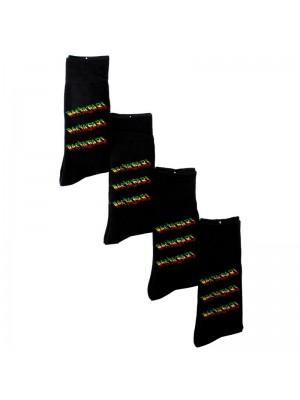 Men's Black Rastafari Print Work Socks (1 Pair Pack)