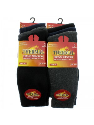 Men's Brushed Thermal Winter Socks - Dark Assorted Colours