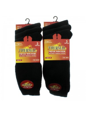 Men's Brushed Thermal Winter Socks (Black)