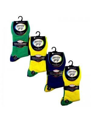 Men's Cotton Blend Socks - Gentle Grip (3 Pair Pack) - Asst