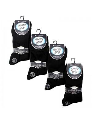 Men's Cotton Blend Socks - Gentle Grip (3 Pair Pack) - Black