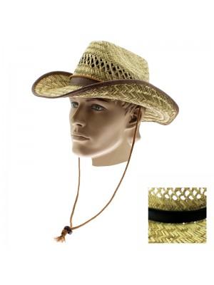 Men's Cowboy Straw Hat - Assorted Colours