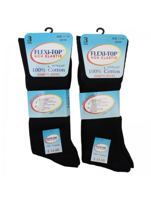 Men's Flexi-Top Non Elastic Diabetic Socks - Black