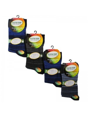 Men's Flexi-Top Non Elastic Diabetic Socks (3 Pair Pack) - Asst