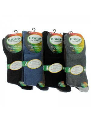 Men's Flexi-Top Non Elastic Socks - Plain Assorted Colours
