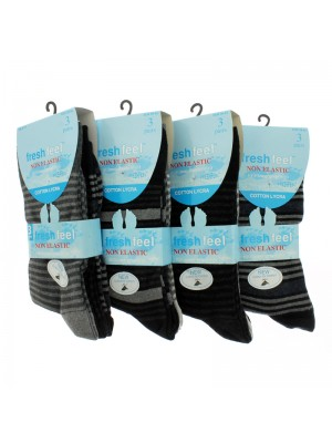 Men's Fresh Feel Striped Design Socks - (Assorted Colours)