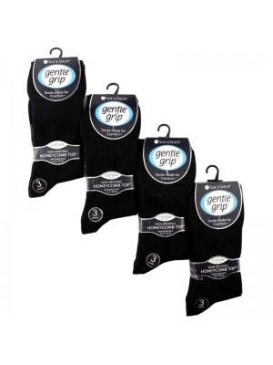 Men's Plain Cotton Blend Big Foot Socks - Gentle Grip (3 Pair Pack) - Black