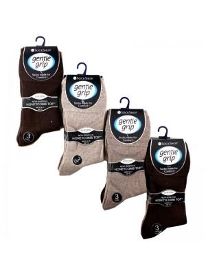 Gentle Grip Men's Plain Cotton Blend Socks - (3 Pair Pack) - Asst