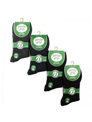 Men's Plain Bamboo Blend Socks - Gentle Grip (3 Pair Pack) - Asst