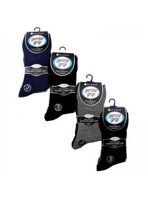 Men's Plain Cotton Blend Socks - Gentle Grip (3 Pair Pack) - Asst
