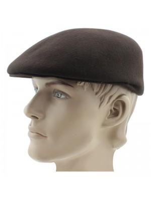 Men's Plain Wool Flat Caps - Brown
