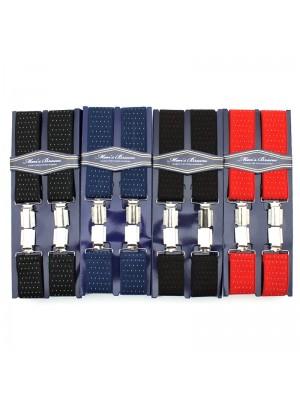 Men's Printed 35mm Braces - White Pinspots (Assorted Colours)
