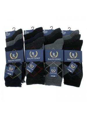 Men's Ralph Lewis Argyle Design Socks (6-11) - Asst. Colours