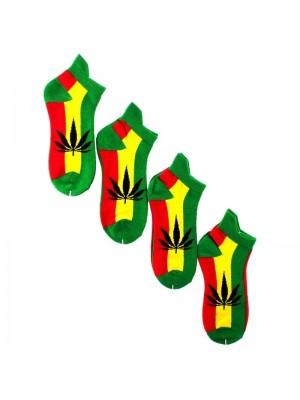 Wholesale Rasta Coloured Leaf Print Trainer Socks