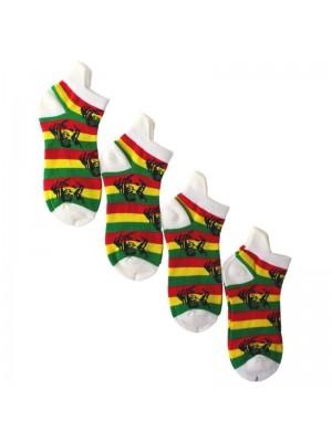 Rasta Coloured Rasta Man Printed Trainer Socks - White Wholesale
