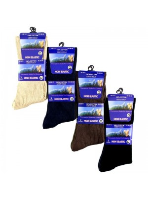 Men's Ribbed Non Elastic Therapeutic Socks (3 Pair Pack) - Asst