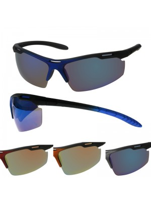 Men's Sports Sunglasses - Curved Frame (Assorted Colours)