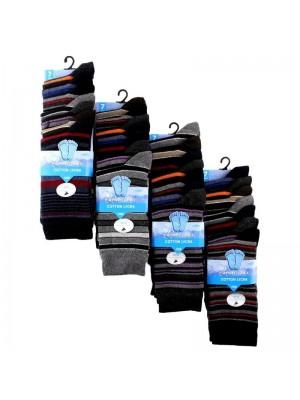 Men's Striped Design Cotton Rich Socks (7 Pair Pack) - Asst