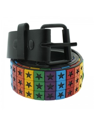Men's Studded PVC Belt - Stars Print